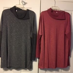 2 tunic style dresses (gray and burgundy)